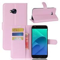 Litch PU kožené zapínacie puzdro na Asus Zenfone 4 Selfie Pro ZD552KL - ružové