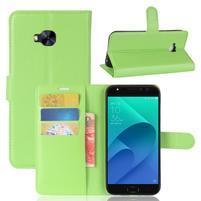 Litch PU kožené zapínacie puzdro na Asus Zenfone 4 Selfie Pro ZD552KL - zelené
