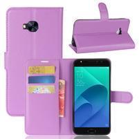 Litch PU kožené zapínacie puzdro na Asus Zenfone 4 Selfie Pro ZD552KL - fialové
