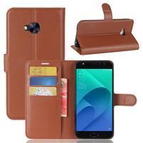 Litch PU kožené zapínacie puzdro na Asus Zenfone 4 Selfie Pro ZD552KL - hnedé