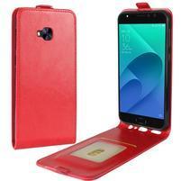 Flipové PU kožené puzdro na Asus Zenfone 4 Selfie Pro ZD552KL - červené
