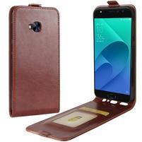 Flipové PU kožené puzdro na Asus Zenfone 4 Selfie Pro ZD552KL - hnedé
