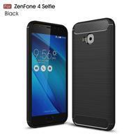 Carbon brúsený odolný obal na Asus Zenfone 4 Selfie Pro ZD552KL - čierny
