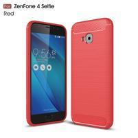 Carbon brúsený odolný obal na Asus Zenfone 4 Selfie Pro ZD552KL - červený