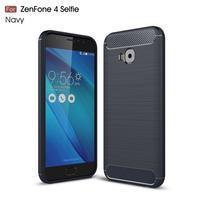 Carbon brúsený odolný obal na Asus Zenfone 4 Selfie Pro ZD552KL - tmavomodrý