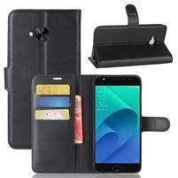 Litch PU kožené zapínacie puzdro na Asus Zenfone 4 Selfie Pro ZD552KL - čierne