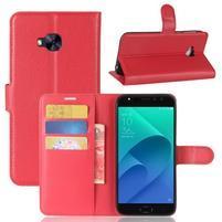 Litch PU kožené zapínacie puzdro na Asus Zenfone 4 Selfie Pro ZD552KL - červené
