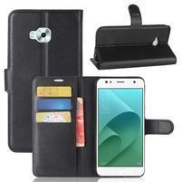 Wallet PU kožené zapínacie puzdro na Asus Zenfone 4 Selfie ZD553KL - čierne