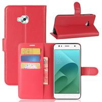 Wallet PU kožené zapínacie puzdro na Asus Zenfone 4 Selfie ZD553KL - červené