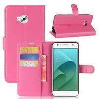 Wallet PU kožené zapínacie puzdro na Asus Zenfone 4 Selfie ZD553KL - rose