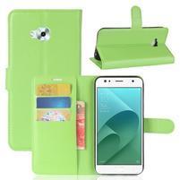 Wallet PU kožené zapínacie puzdro na Asus Zenfone 4 Selfie ZD553KL - zelené