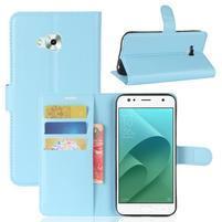 Wallet PU kožené zapínacie puzdro na Asus Zenfone 4 Selfie ZD553KL - svetlomodré