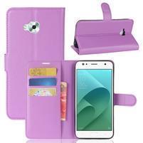 Wallet PU kožené zapínacie puzdro na Asus Zenfone 4 Selfie ZD553KL - fialové