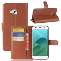Wallet PU kožené zapínacie puzdro na Asus Zenfone 4 Selfie ZD553KL - hnedé