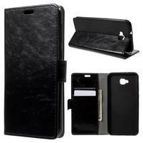Crazy PU kožené puzdro na Asus Zenfone 4 Selfie ZD553KL - čierne