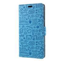 Cartoo PU kožené puzdro na Asus Zenfone 4 Selfie ZD553KL - modré