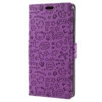 Cartoo PU kožené puzdro na Asus Zenfone 4 Selfie ZD553KL - fialové