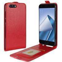 Flipové PU kožené puzdro na mobil Asus Zenfone 4 ZE554KL - červené