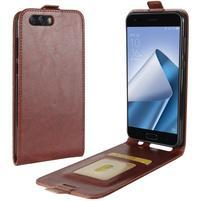 Flipové PU kožené puzdro na mobil Asus Zenfone 4 ZE554KL - hnedé