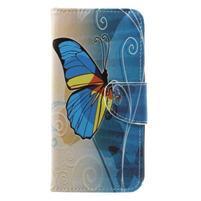 Emotive knižkové puzdro na Asus Zenfone 4 ZE554KL - modrý motýľ