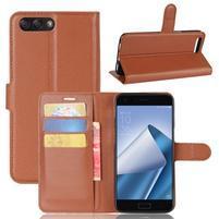 Litch PU kožené puzdro na mobil Asus Zenfone 4 ZE554KL - hnedé