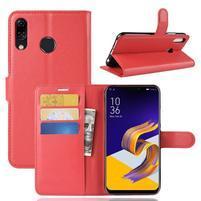 Litchi PU kožené puzdro na Asus Zenfone 5 ZE620KL - červené