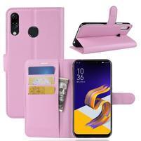 Litchi PU kožené puzdro na Asus Zenfone 5 ZE620KL - ružové