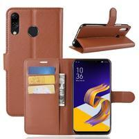 Litchi PU kožené puzdro na Asus Zenfone 5 ZE620KL - hnedé