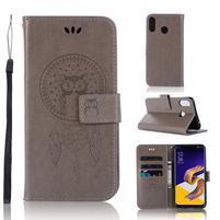 Dream PU kožené peňaženkové puzdro na Asus Zenfone 5Z ZS620KL - sivé