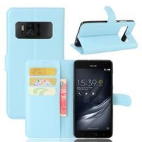 Graines PU kožené puzdro pre mobil Asus Zenfone AR ZS571KL - svetlomodré