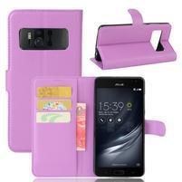 Graines PU kožené puzdro pre mobil Asus Zenfone AR ZS571KL - fialové