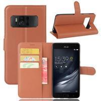 Graines PU kožené puzdro pre mobil Asus Zenfone AR ZS571KL - hnedé