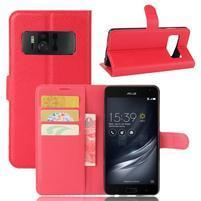 Graines PU kožené puzdro pre mobil Asus Zenfone AR ZS571KL - červené