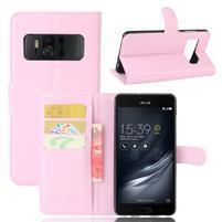 Graines PU kožené puzdro pre mobil Asus Zenfone AR ZS571KL - ružové