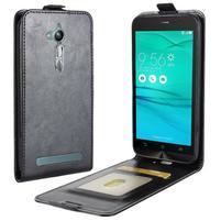 Flipové PU kožené puzdro na mobil Asus Zenfone Go ZB500KL - čierne