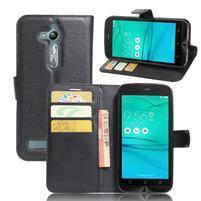 Peňaženkové puzdro pre Asus Zenfone Go ZB500KL - čierne
