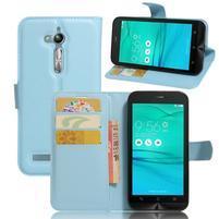 Peňaženkové puzdro pre Asus Zenfone Go ZB500KL - svetlomodré