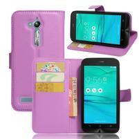 Peňaženkové puzdro pre Asus Zenfone Go ZB500KL - fialové