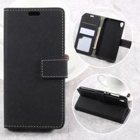 Texture PU kožené puzdro pre mobil Asus Zenfone Live ZB501KL - čierné