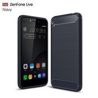 Carbon odolný gélový obal na Asus Zenfone Live ZB501KL - tmavomodrý
