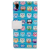Flapy peňaženkové puzdro na Asus Zenfone Live ZB501KL - modré sovičky