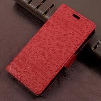 Cartoo zapínacie peňaženkové puzdro na Asus Zenfone Live ZB501KL - červené