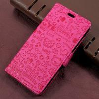 Cartoo zapínacie peňaženkové puzdro na Asus Zenfone Live ZB501KL - rose