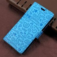 Cartoo zapínacie peňaženkové puzdro na Asus Zenfone Live ZB501KL - modré
