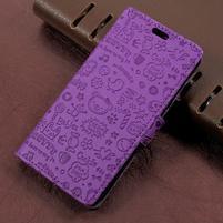 Cartoo zapínacie peňaženkové puzdro na Asus Zenfone Live ZB501KL - fialové