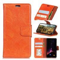 Nappa puzdro z pravé kože na Asus Zenfone Max Plus (M1) ZB570TL - oranžové