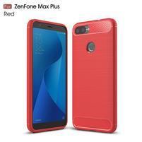 Fiber textúrovaný gélový obal na Asus Zenfone Max Plus (M1) ZB570TL - červený