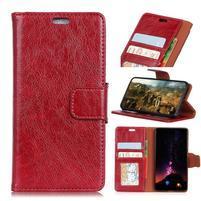 Nappa puzdro z pravé kože na Asus Zenfone Max Plus (M1) ZB570TL - červené
