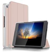 Trifold PU kožené polohovateľné puzdro na Asus ZenPad 3 8.0 Z581KL - růžovozlaté