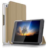 Trifold PU kožené polohovateľné puzdro na Asus ZenPad 3 8.0 Z581KL - zlaté